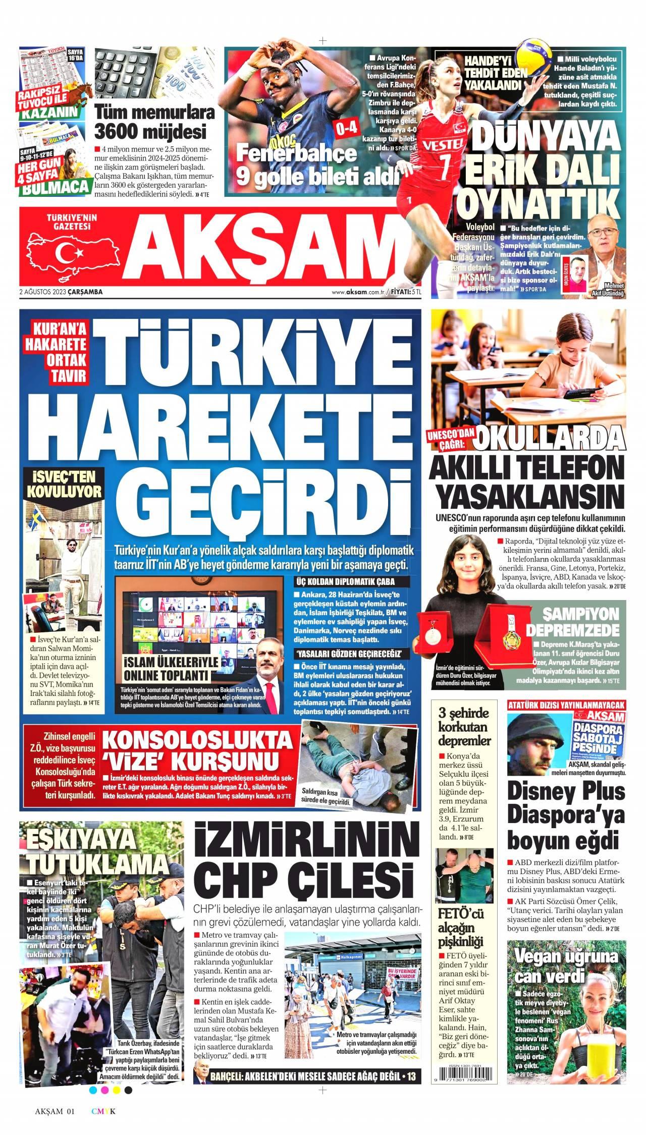 aksam Gazetesi 1. sayfası