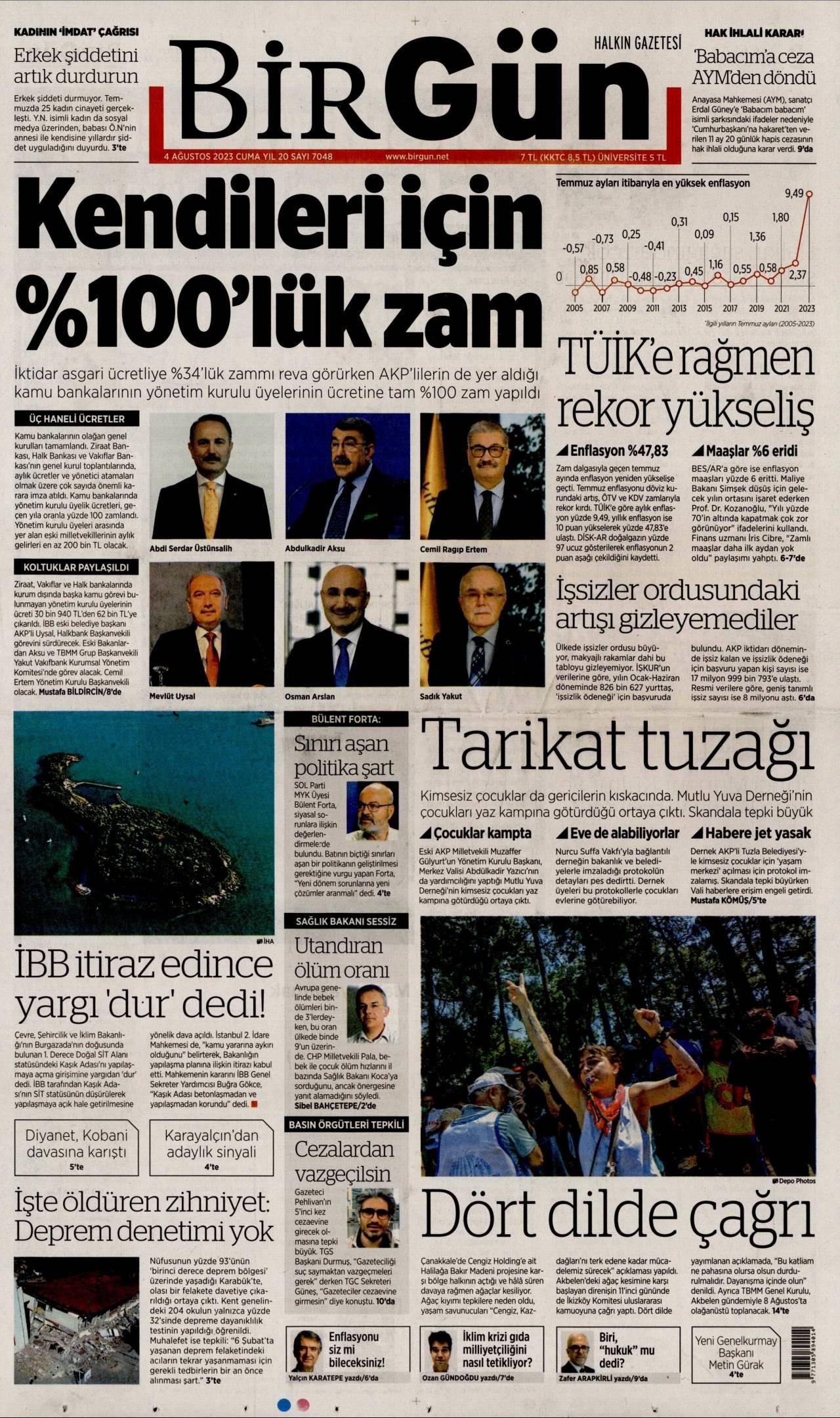 birgun Gazetesi 1. sayfası