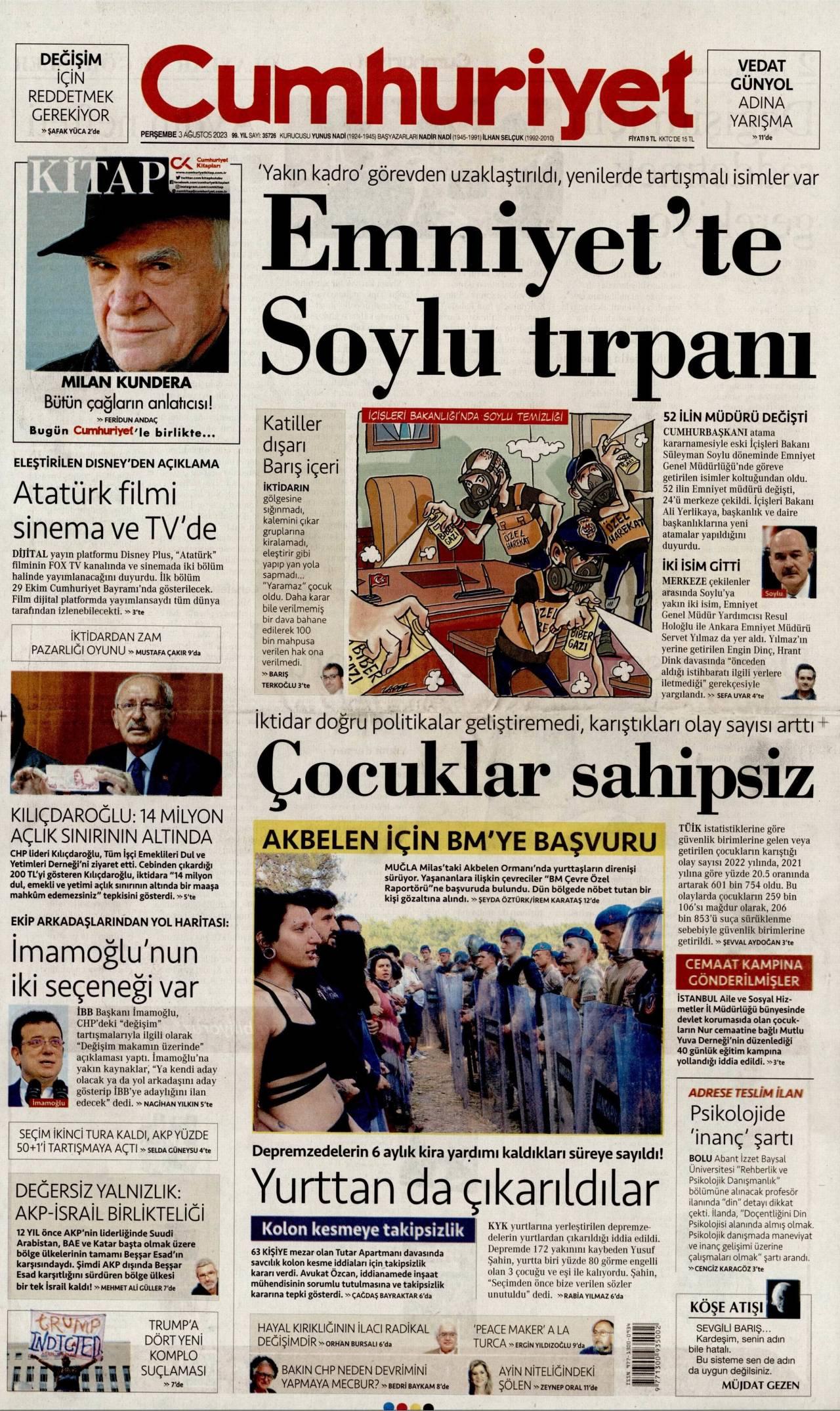 16 Ekim 2019 Çarşamba Cumhuriyet Gazetesi Manşeti