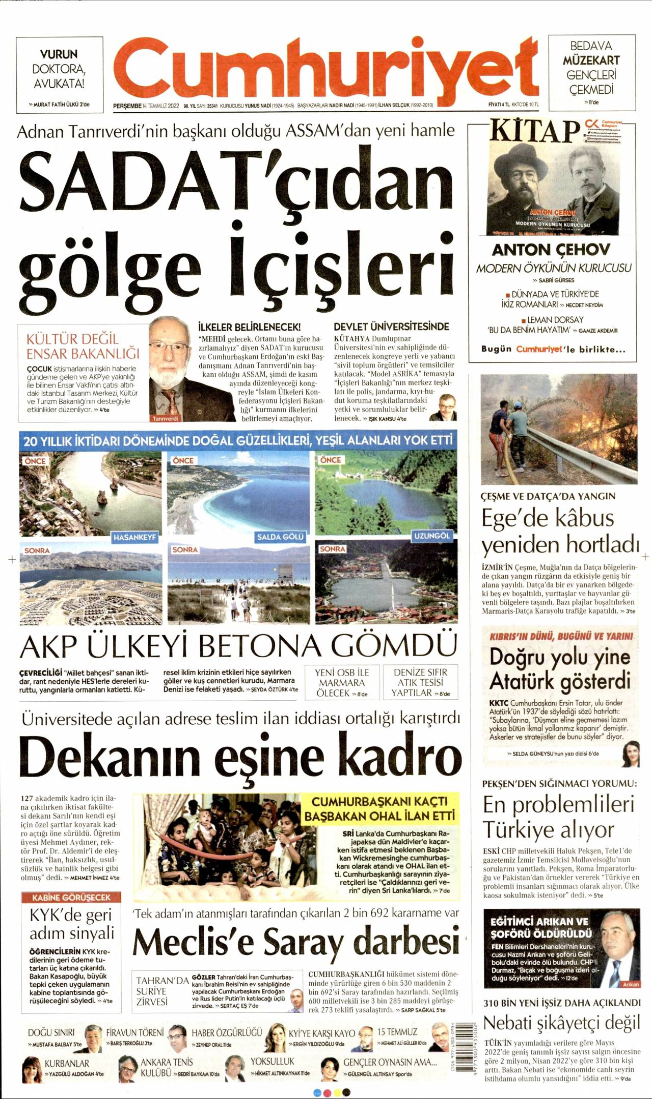 27 Mayıs 2019 Pazartesi Cumhuriyet Gazetesi Manşeti