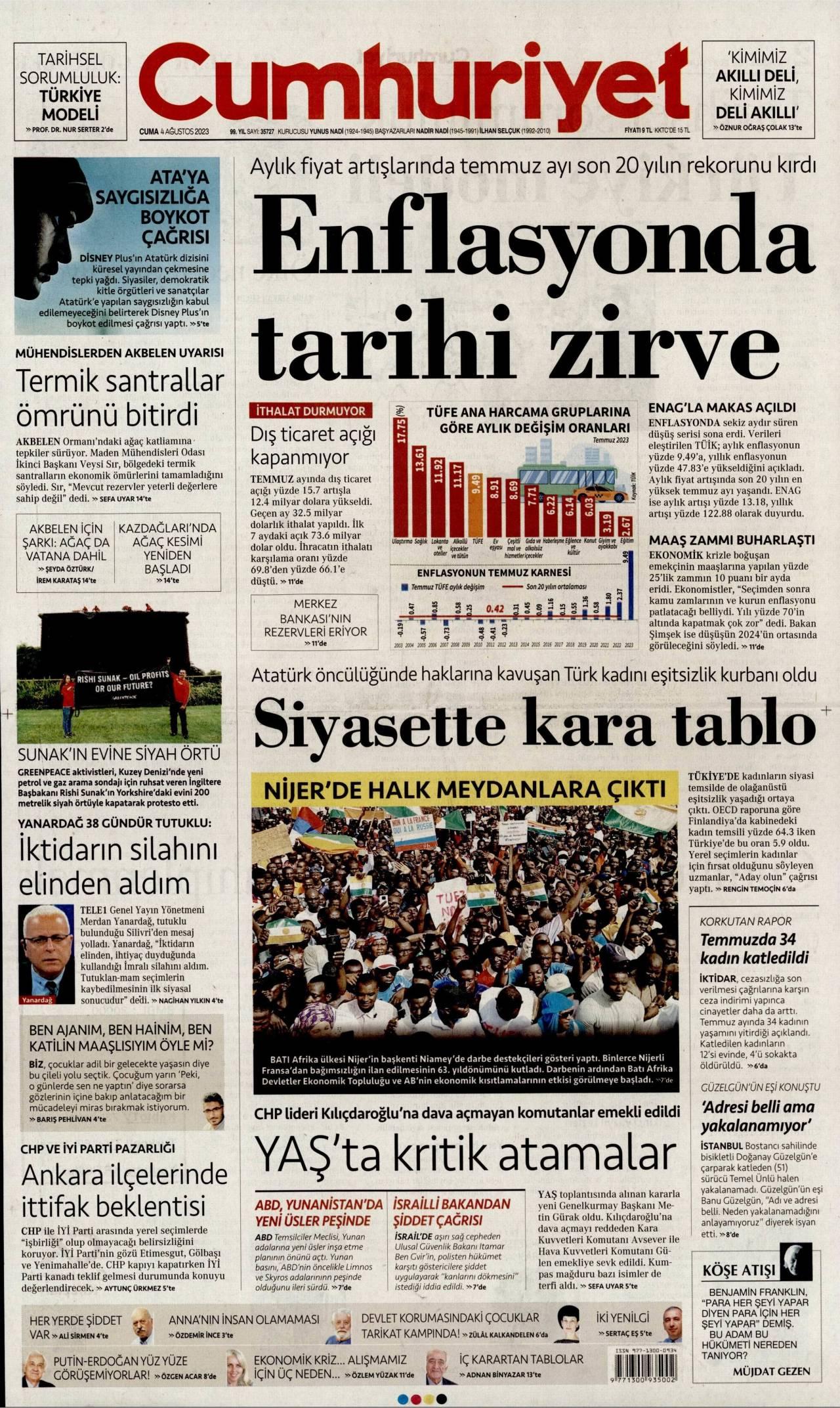 cumhuriyet Gazetesi 1. sayfası