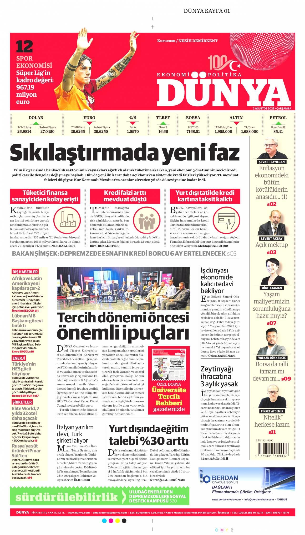 dunya Gazetesi 1. sayfası