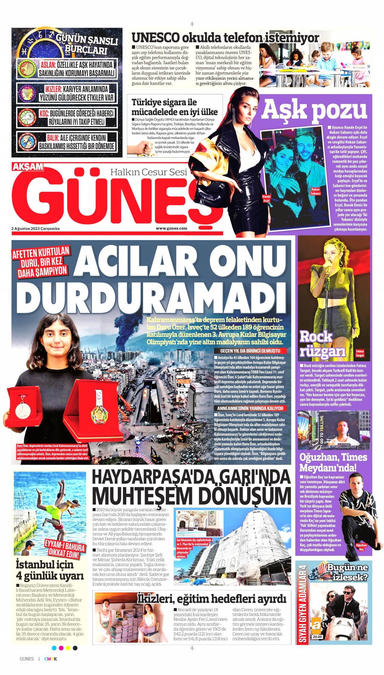 16 Ekim 2019 Çarşamba Güneş Gazetesi Manşeti