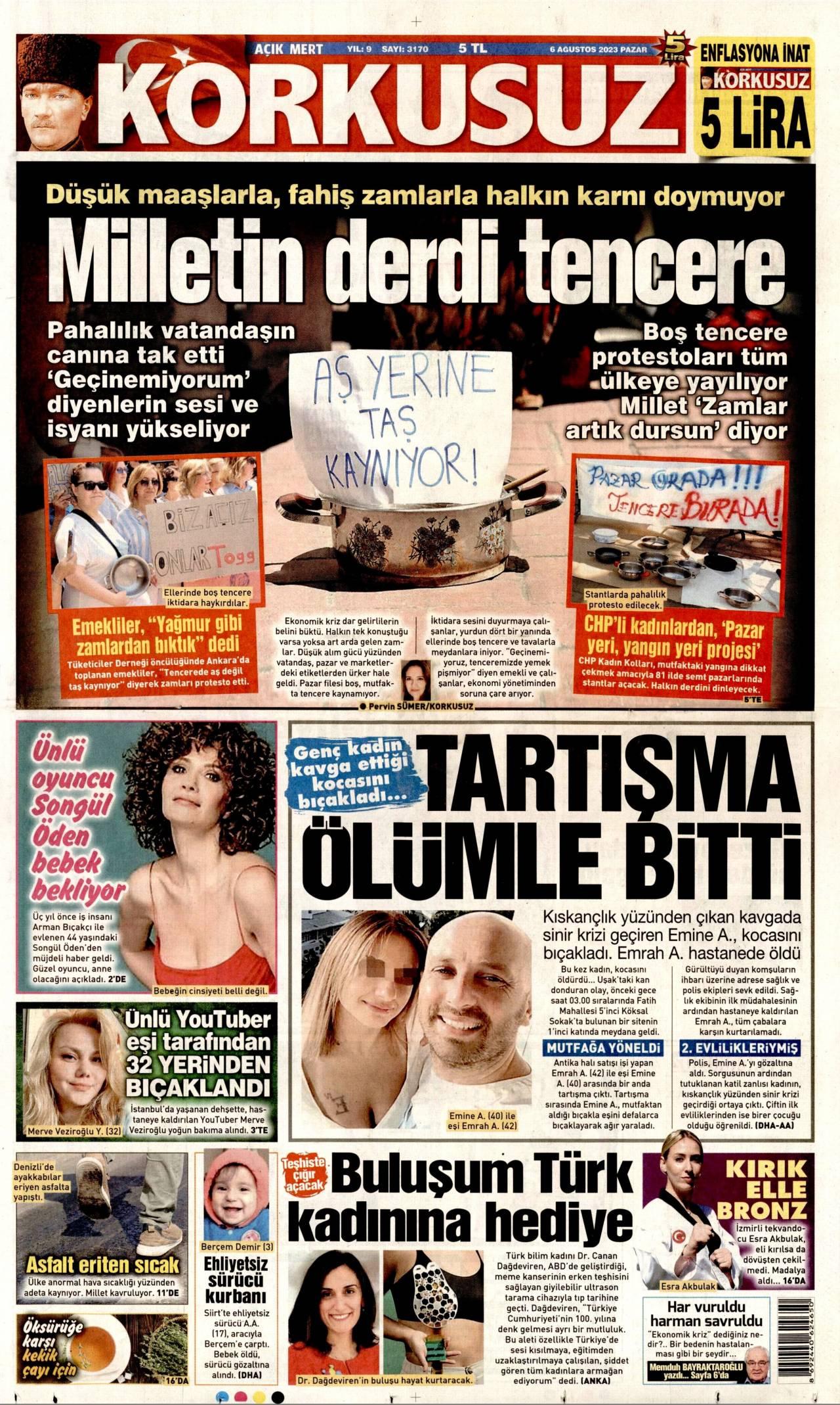 Korkusuz Gazetesi Manşeti