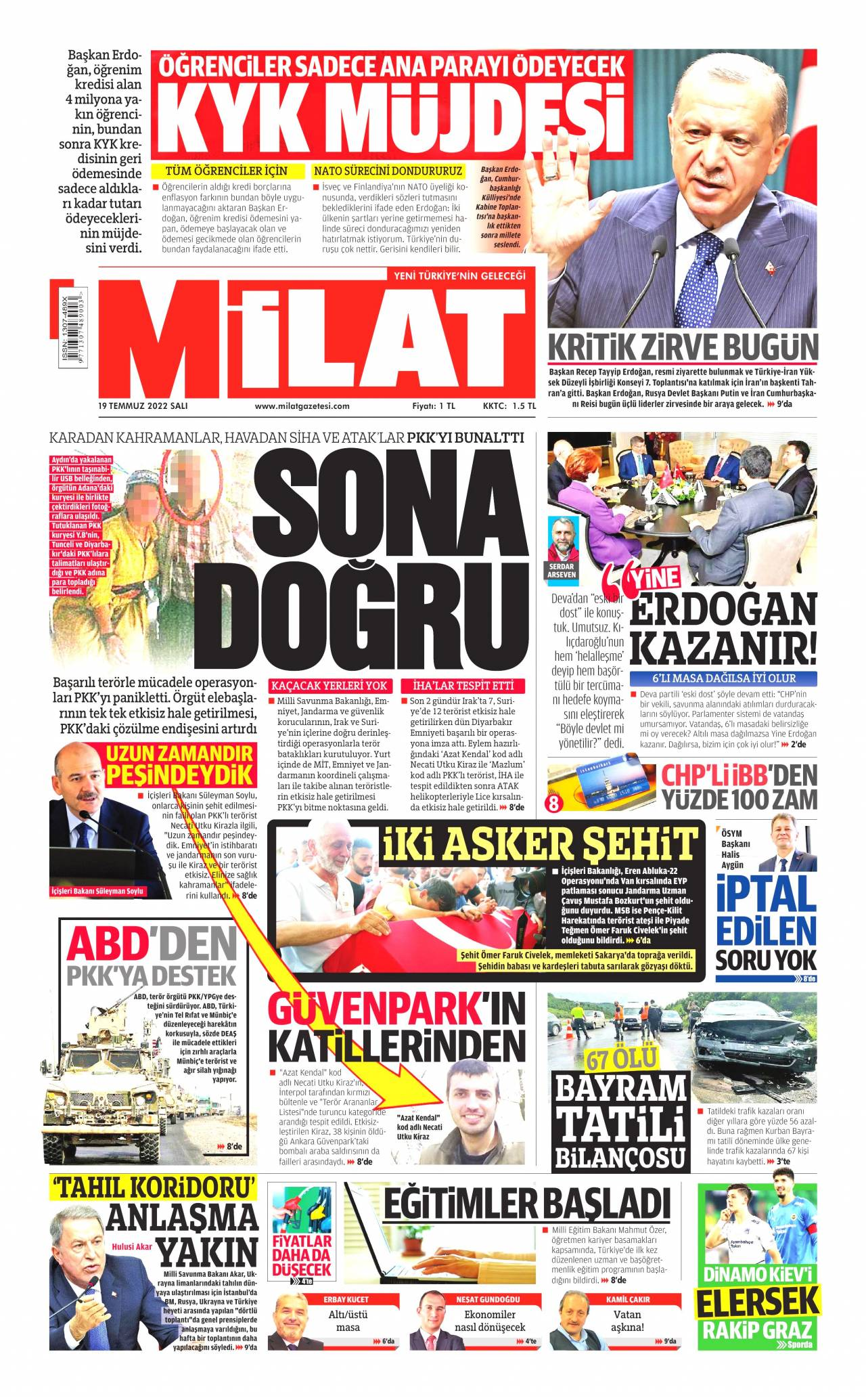 28.04.2017 tarihli Milat gazetesinin 1. sayfası