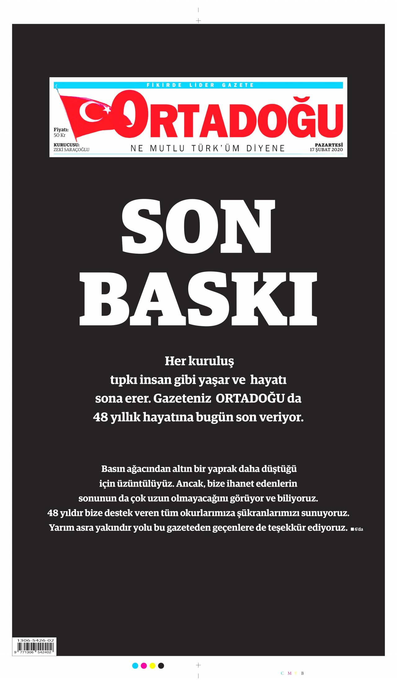 23.10.2017 tarihli Ortadoğu gazetesinin 1. sayfası
