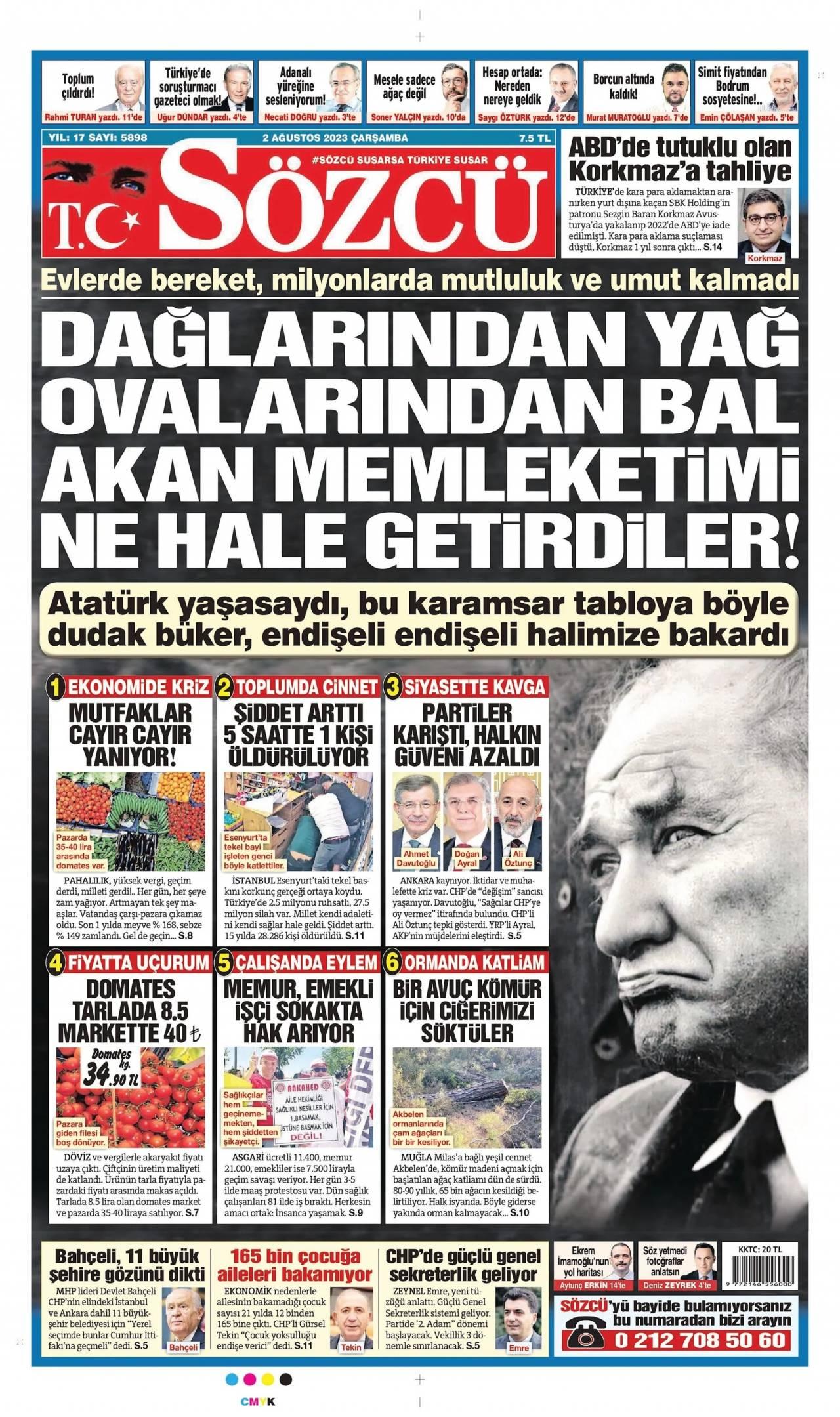 16 Ekim 2019 Çarşamba Sözcü Gazetesi Manşeti