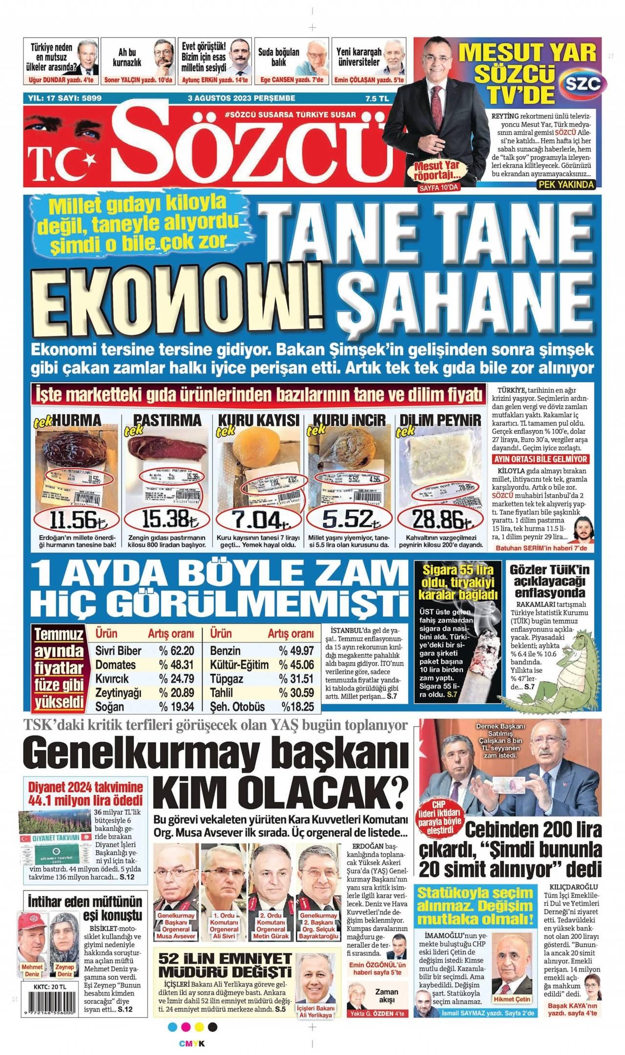 sozcu Gazetesi 1. sayfası