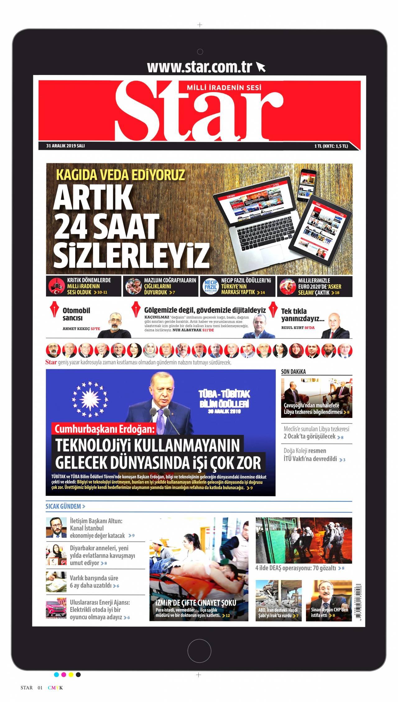 17.12.2017 tarihli Star gazetesinin 1. sayfası