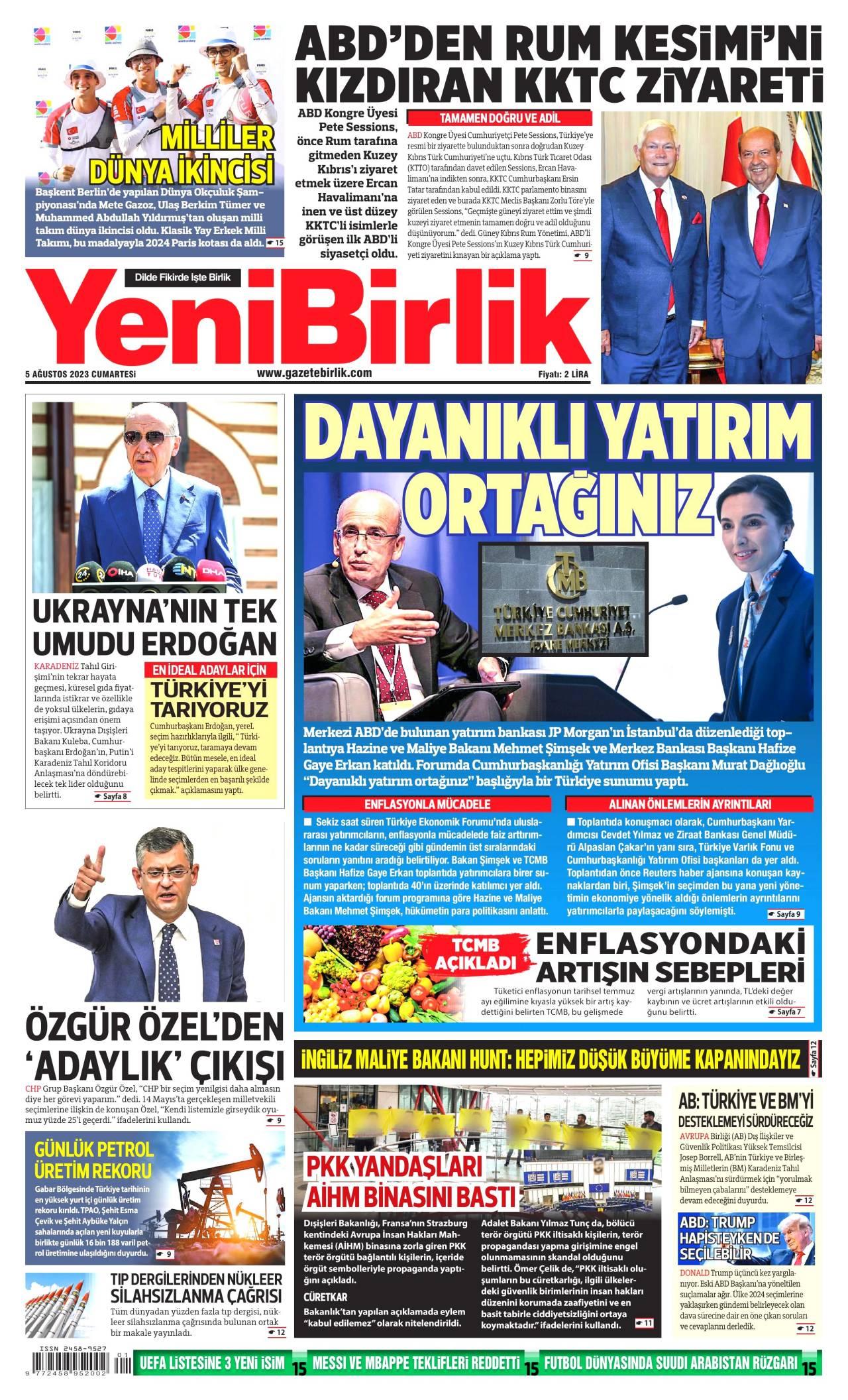YeniBirlik Gazetesi Manşeti
