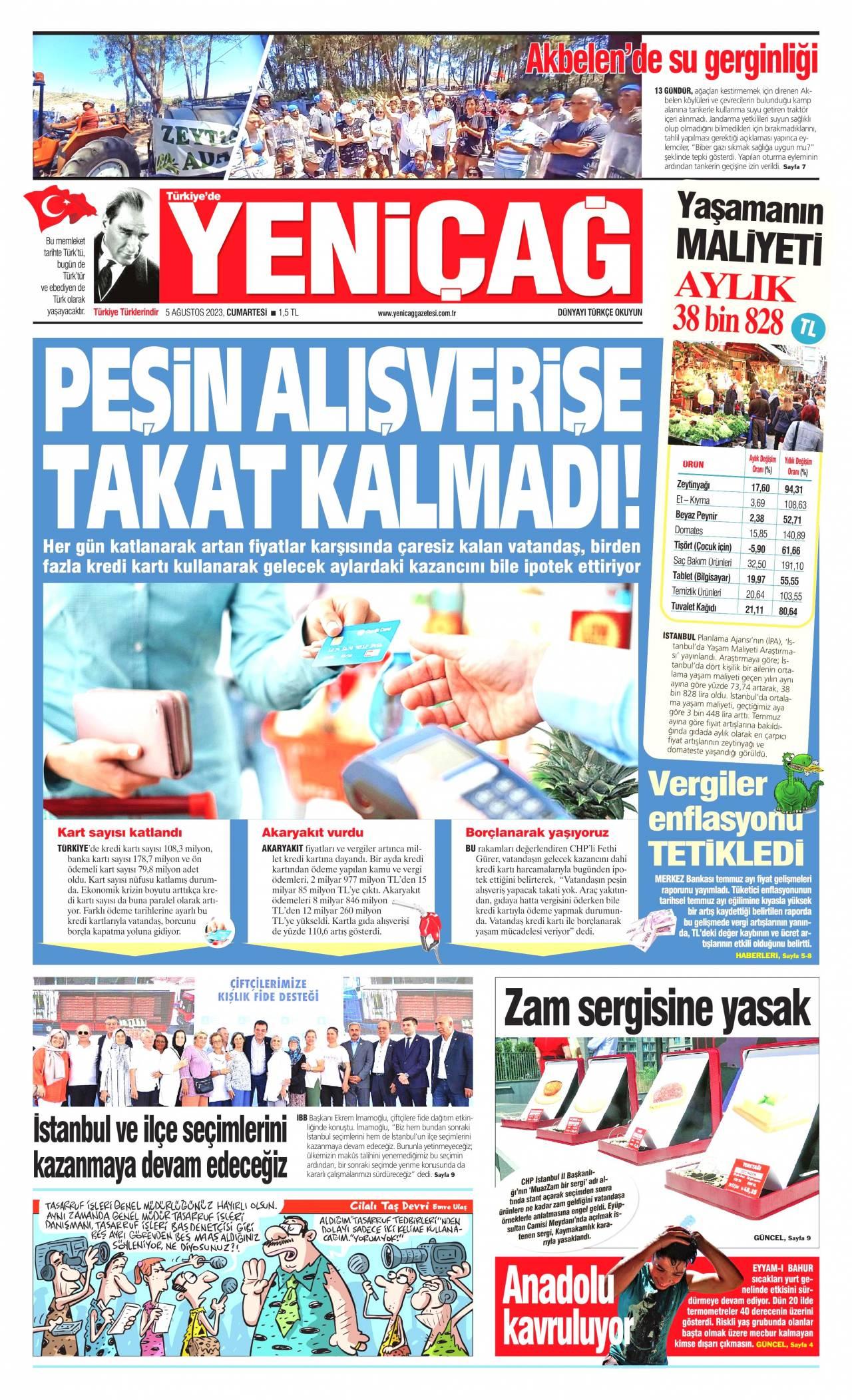 yenicag Gazetesi 1. sayfası